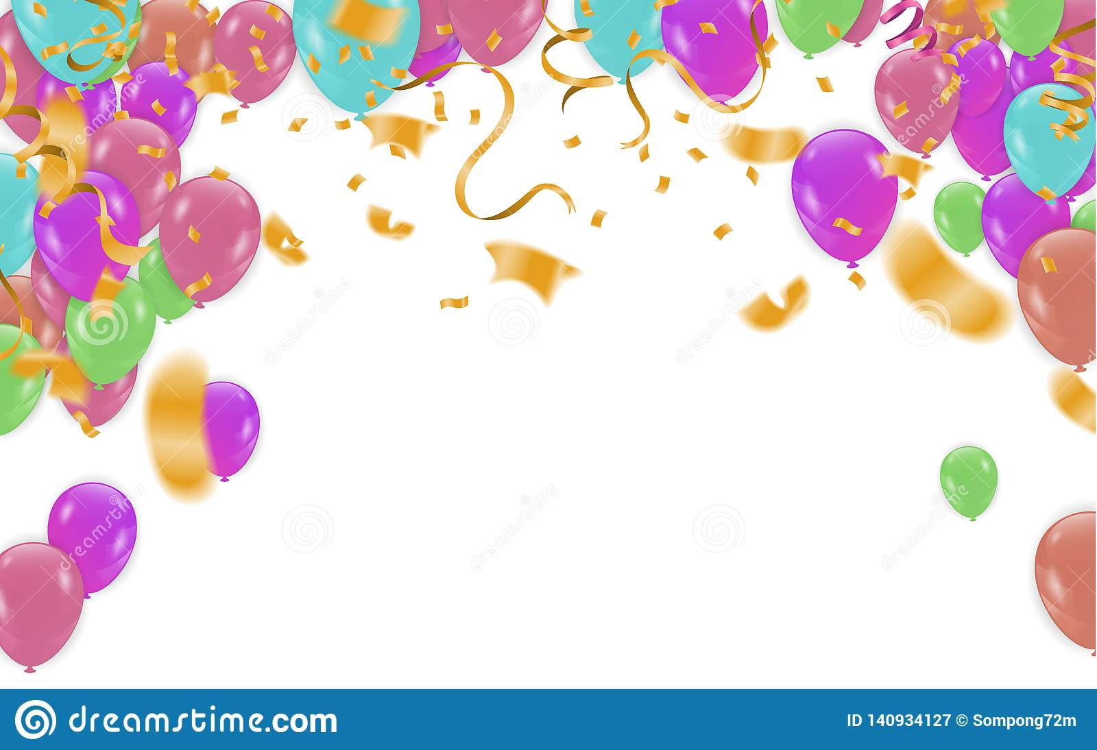 Happy Birthday Card Template With Foil Confetti And Balloons Party