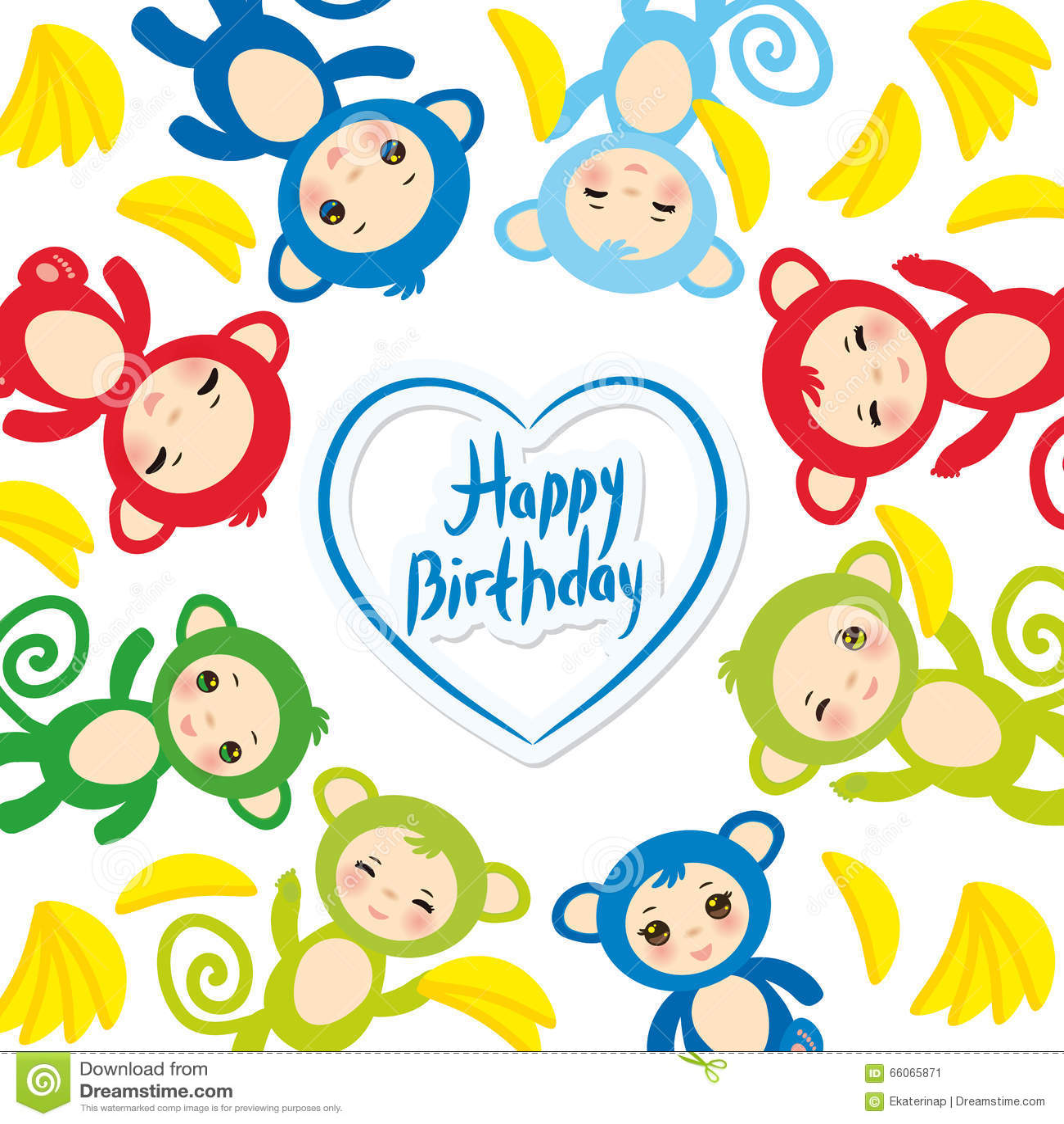 Happy Birthday Card Template Funny Green Blue Pink Orange Monkey Yellow Bananas Boys