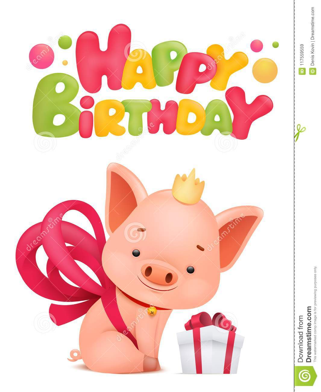 Happy Birthday Card Template With Pig Cartoon Character