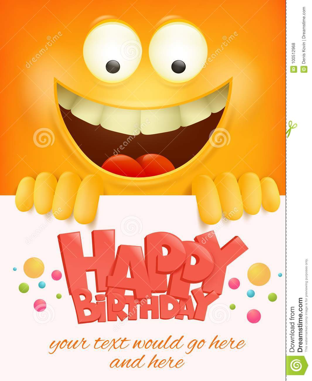 Happy Birthday Card Template With Yellow Smiley Face