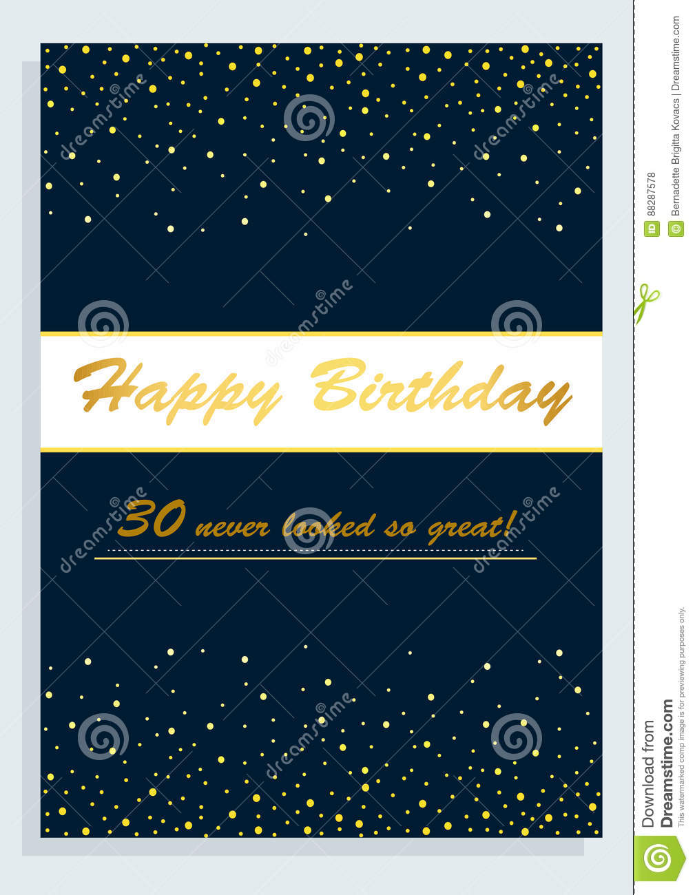 Happy Birthday Card For 30th Birthday Stock Illustration