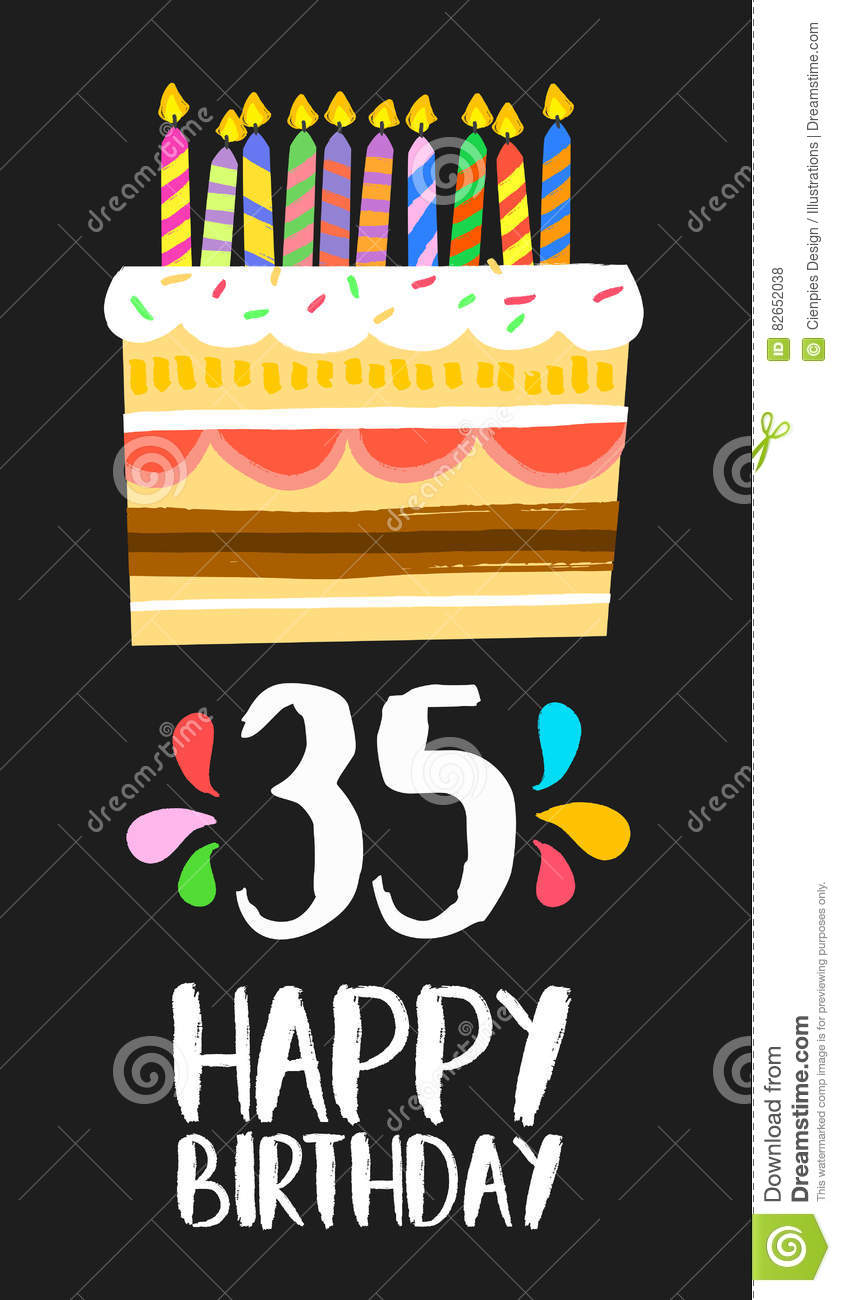 Happy Birthday Card 35 Thirty Five Year Cake Stock Vector