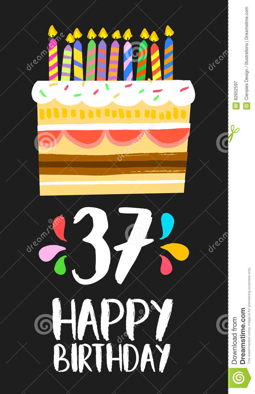 Happy Birthday Number 37 Greeting Card For Thirty Seven Years In Fun Art Style With Cake And Candles Anniversary Invitation Congratulations Or