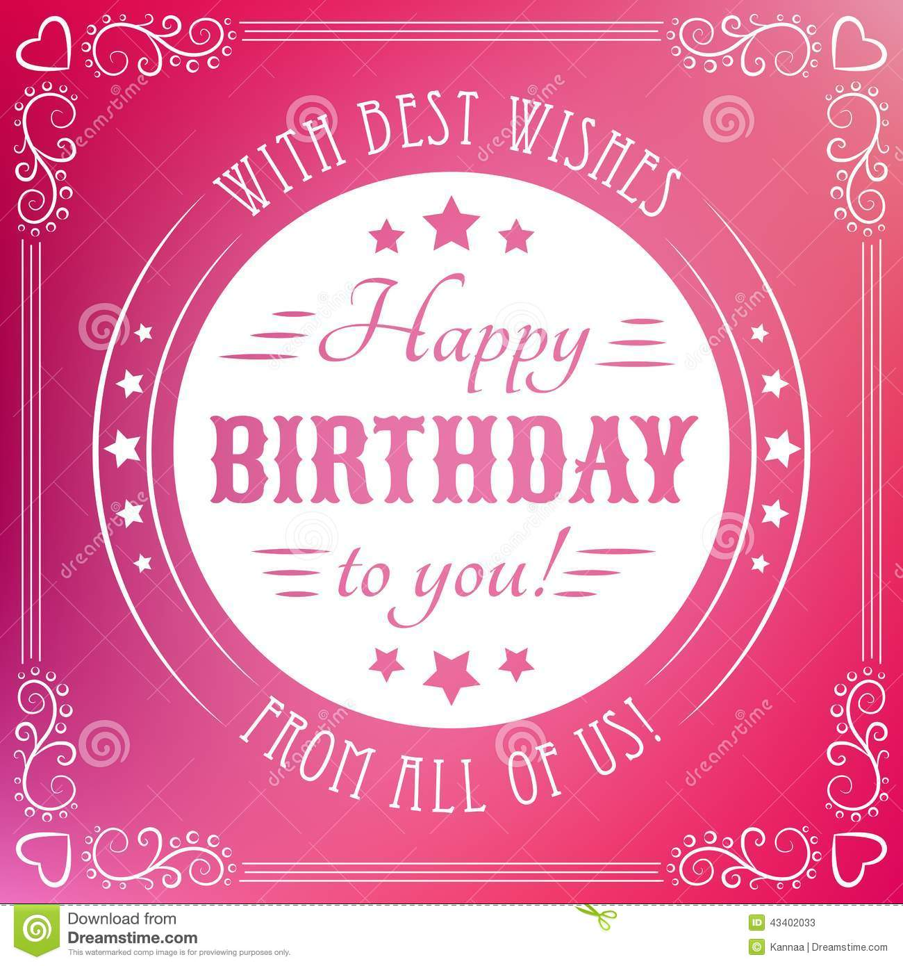 Happy Birthday Card. Typography Letters Font Type Stock