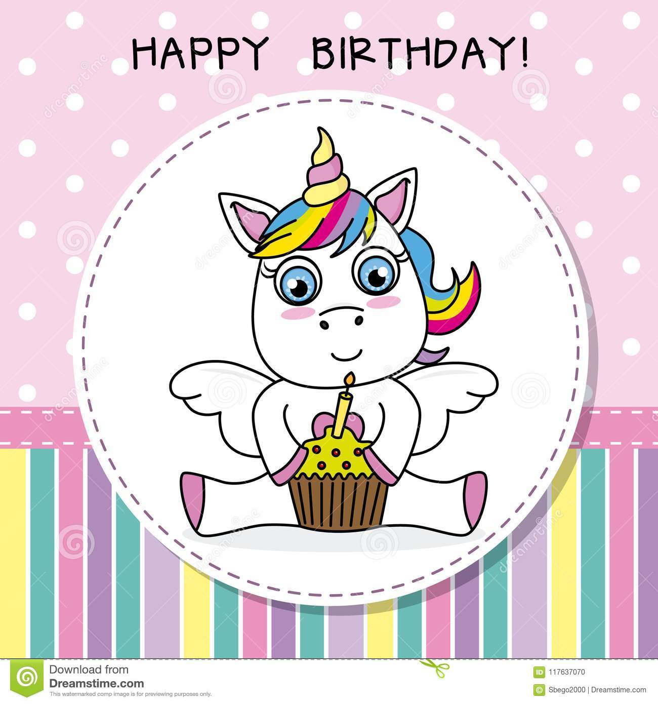 Happy Birthday Card Cute Unicorn With Cake