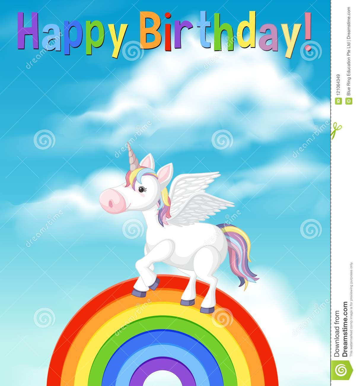 A Happy Birthday Card With Unicorn Stock Vector Illustration Of