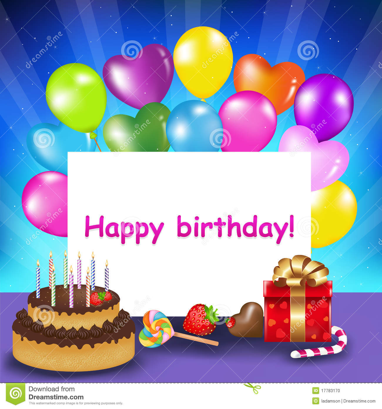 Happy Birthday Card Vector Illustration 17783170