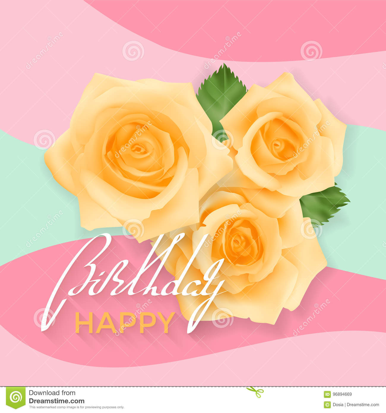 Happy Birthday Card Stock Vector Illustration Of Garden 96894669