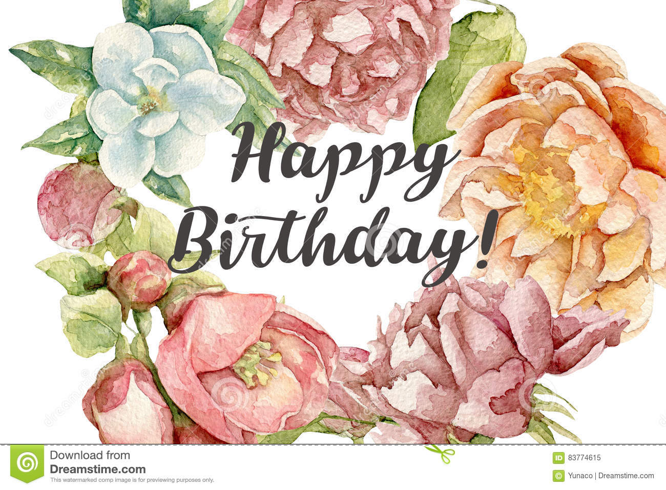 Happy birthday card with watercolor flowers stock illustration happy birthday card with watercolor flowers texture ornament izmirmasajfo