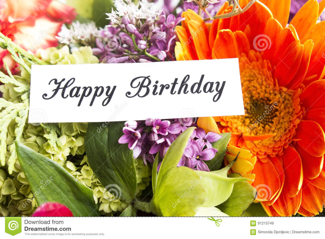 Happy Birthday Card Withf Spring Flowers Stock Image Image Of