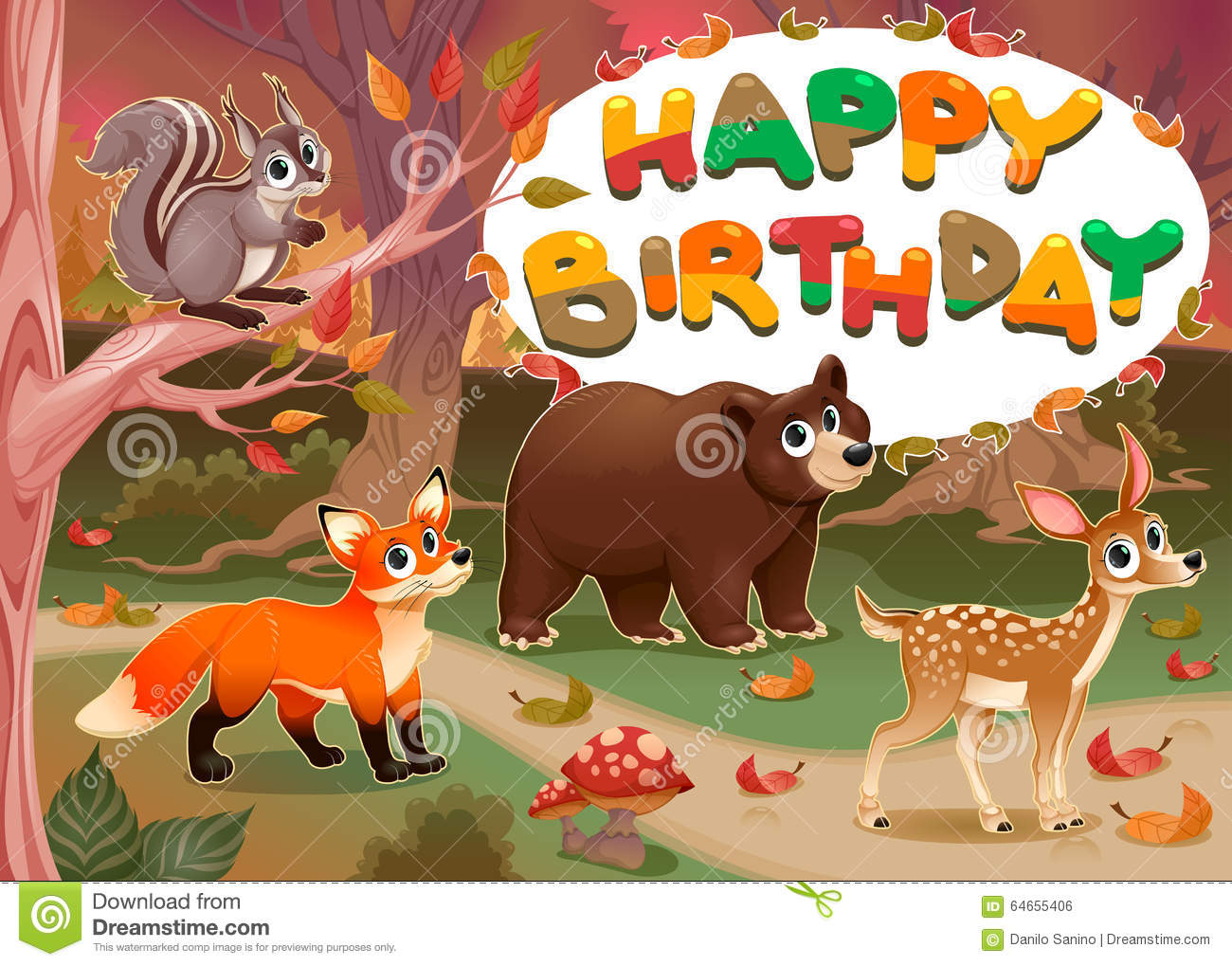 Happy Birthday Card With Wood Animals