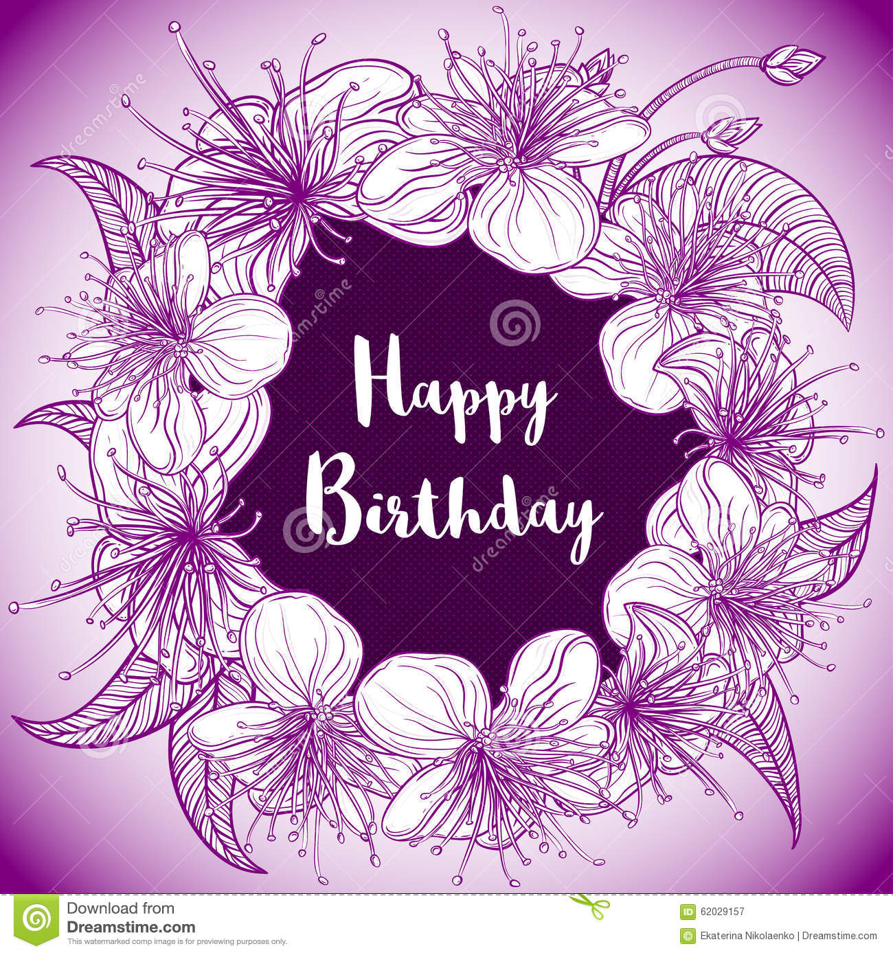 Happy birthday card with wreath of exotic flowers and leaves birthday card exotic happy illustration purple dhlflorist Gallery