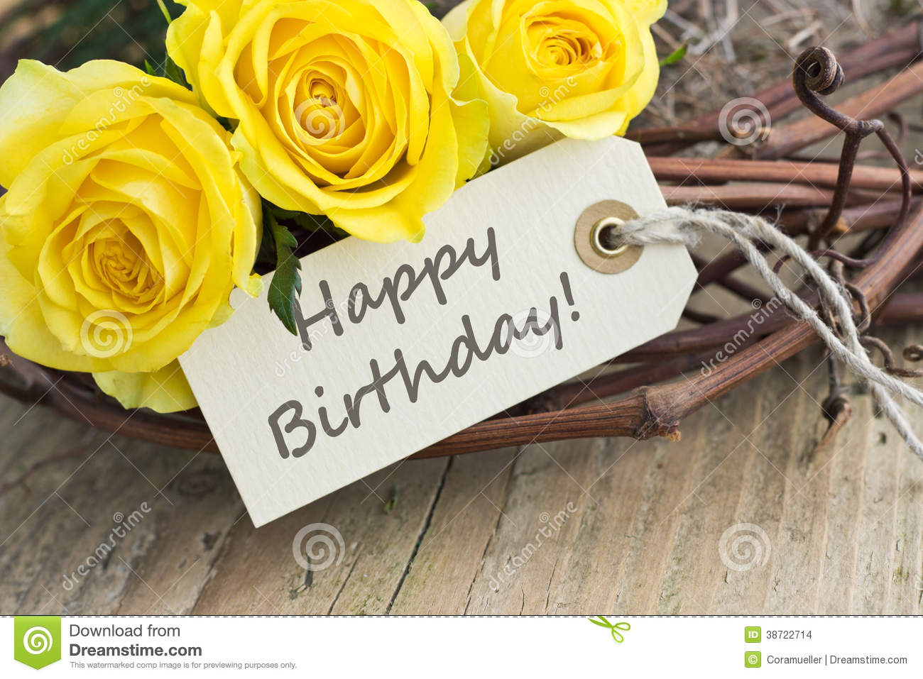 Birthday card with yellow roses.