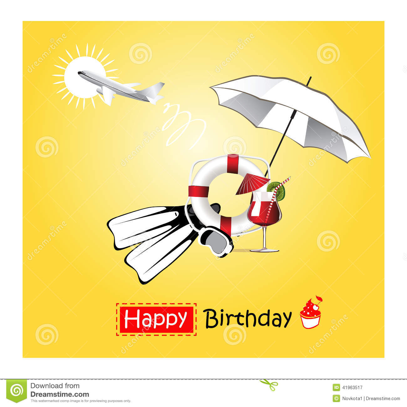 Happy Birthday Card Yellow Stock Illustration Illustration Of Card