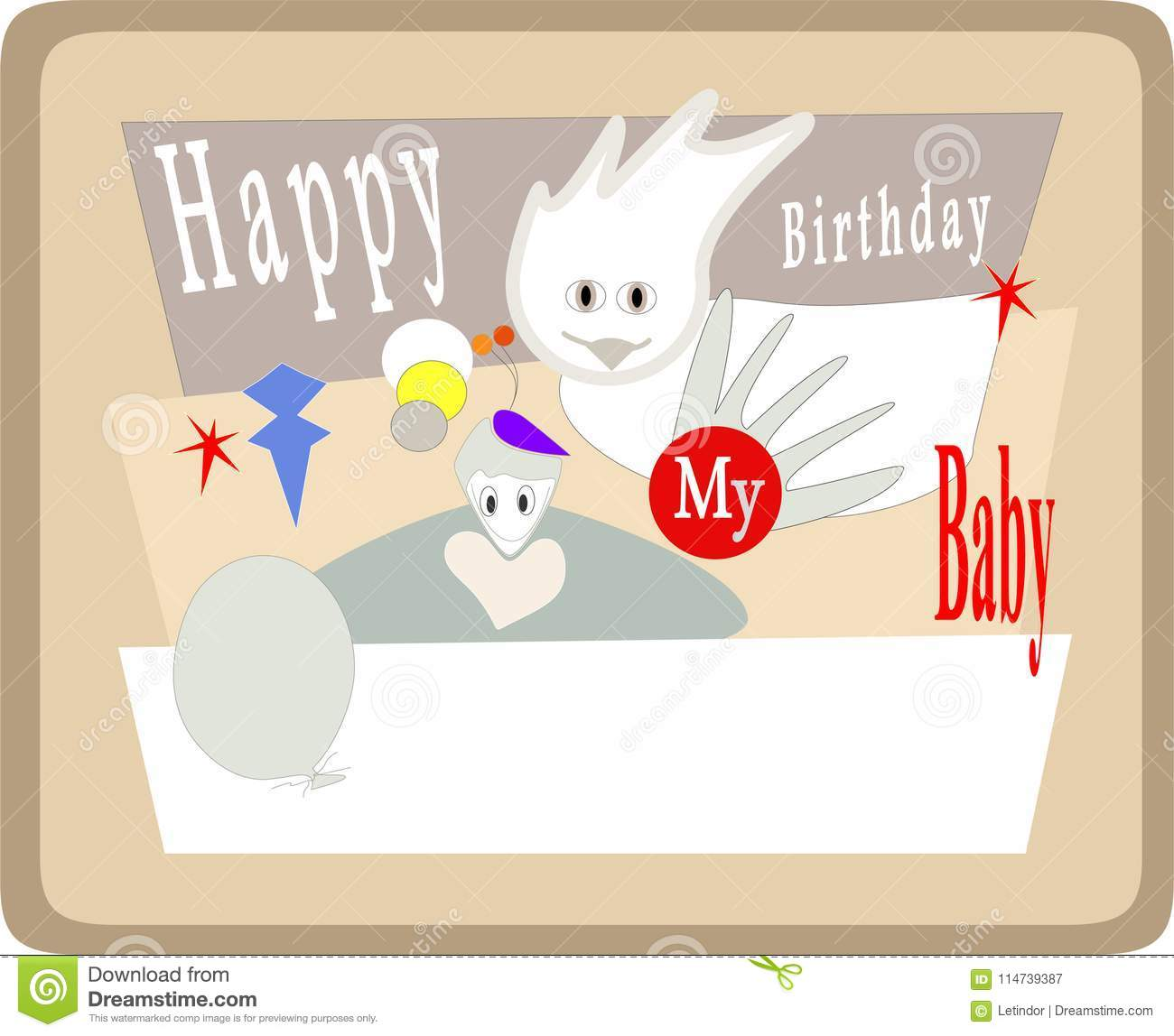 Happy Birthday Cards For Baby Stock Vector Illustration Of
