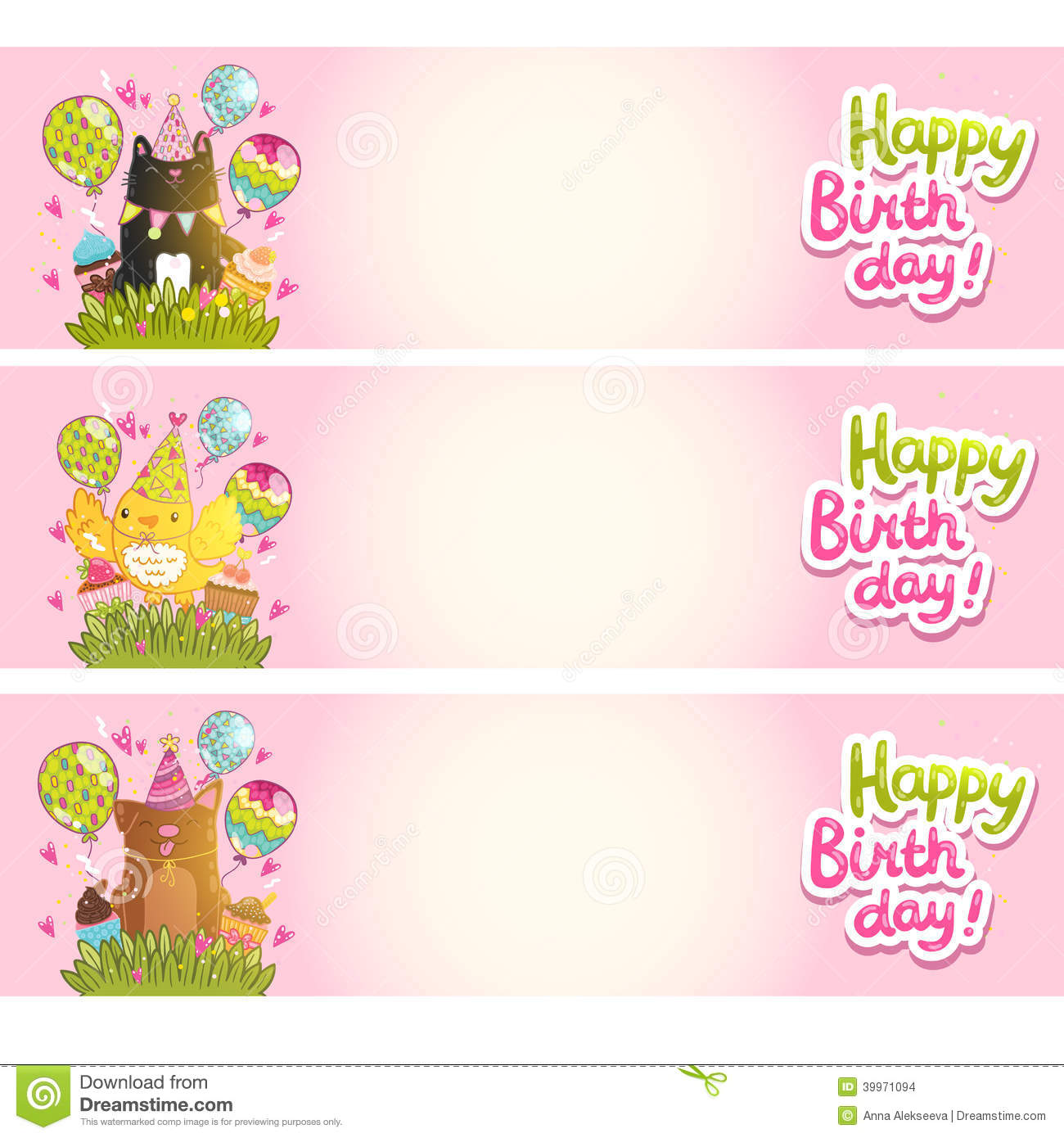 happy birthday cards with cat bird stock vector