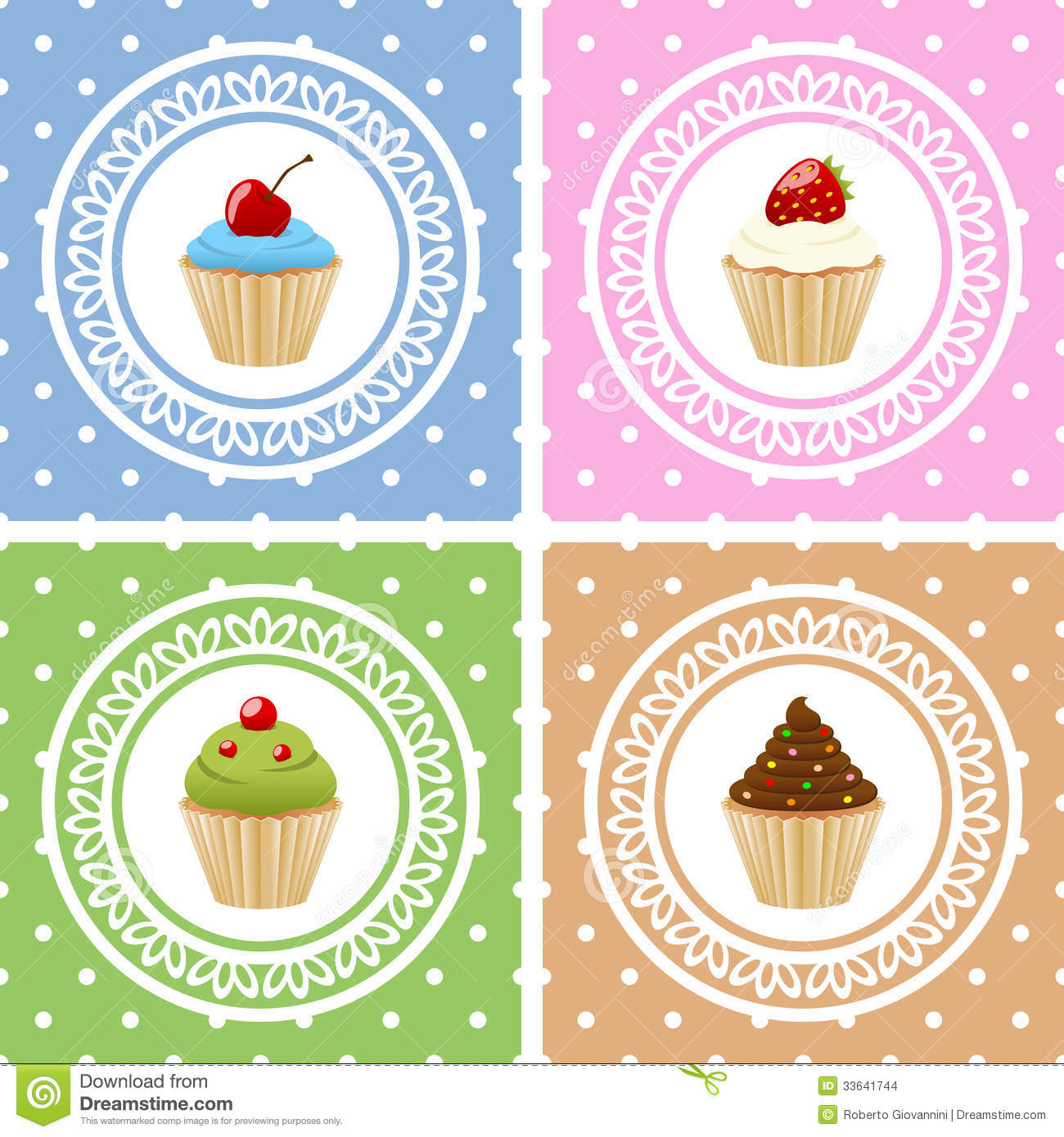 Collection Of Four Birthday Cards With Different Sweet Cupcakes Eps
