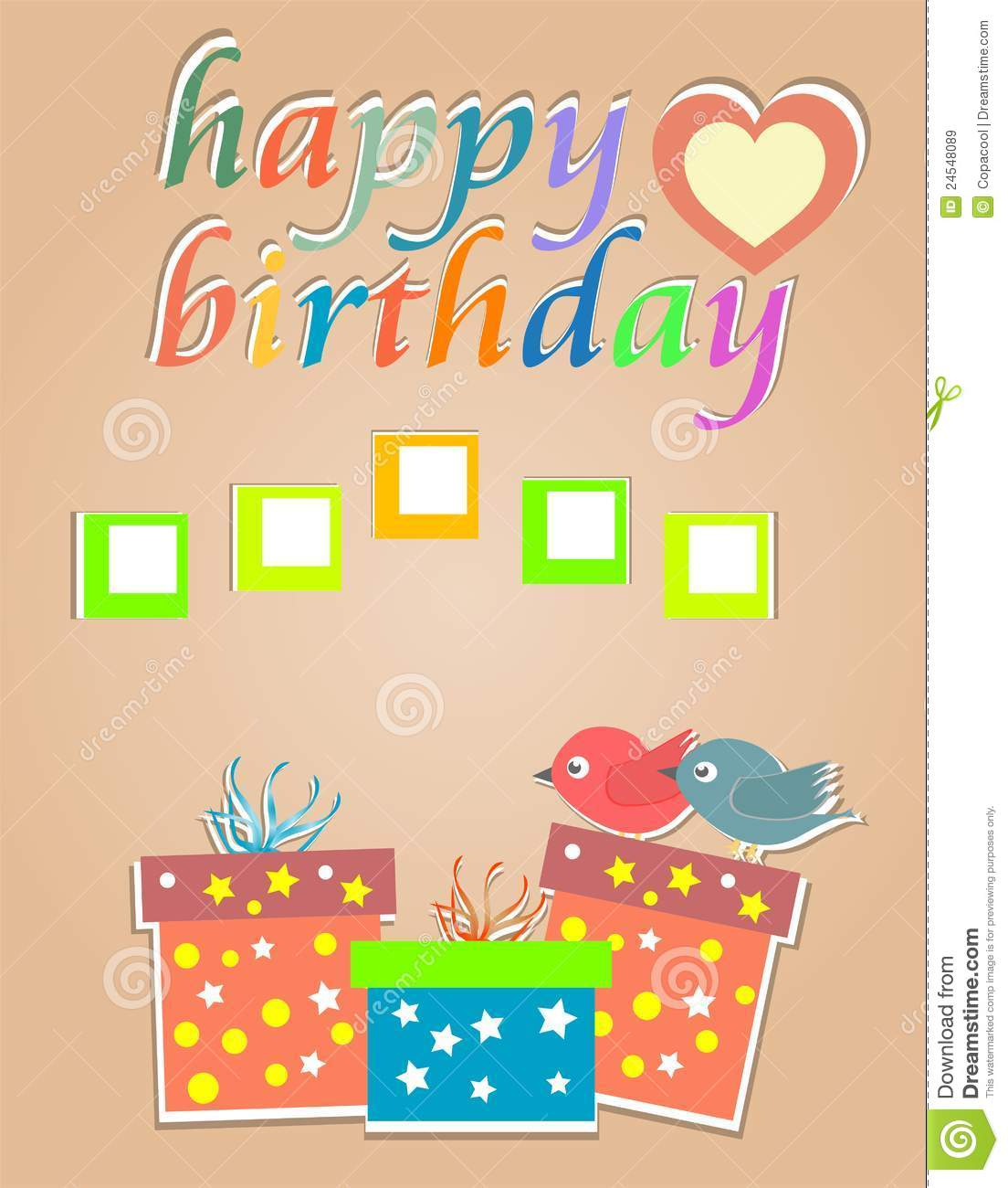 Happy Birthday Cards With Cute Birds And Gift Box Stock Vector