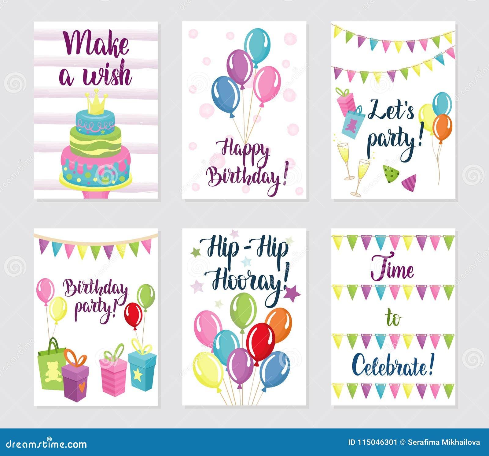 Happy Birthday Cards Set