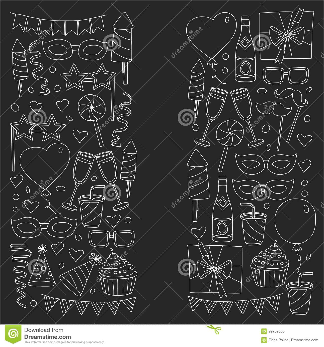 Happy Birthday Card Template Kids Drawing Children Party Invitation
