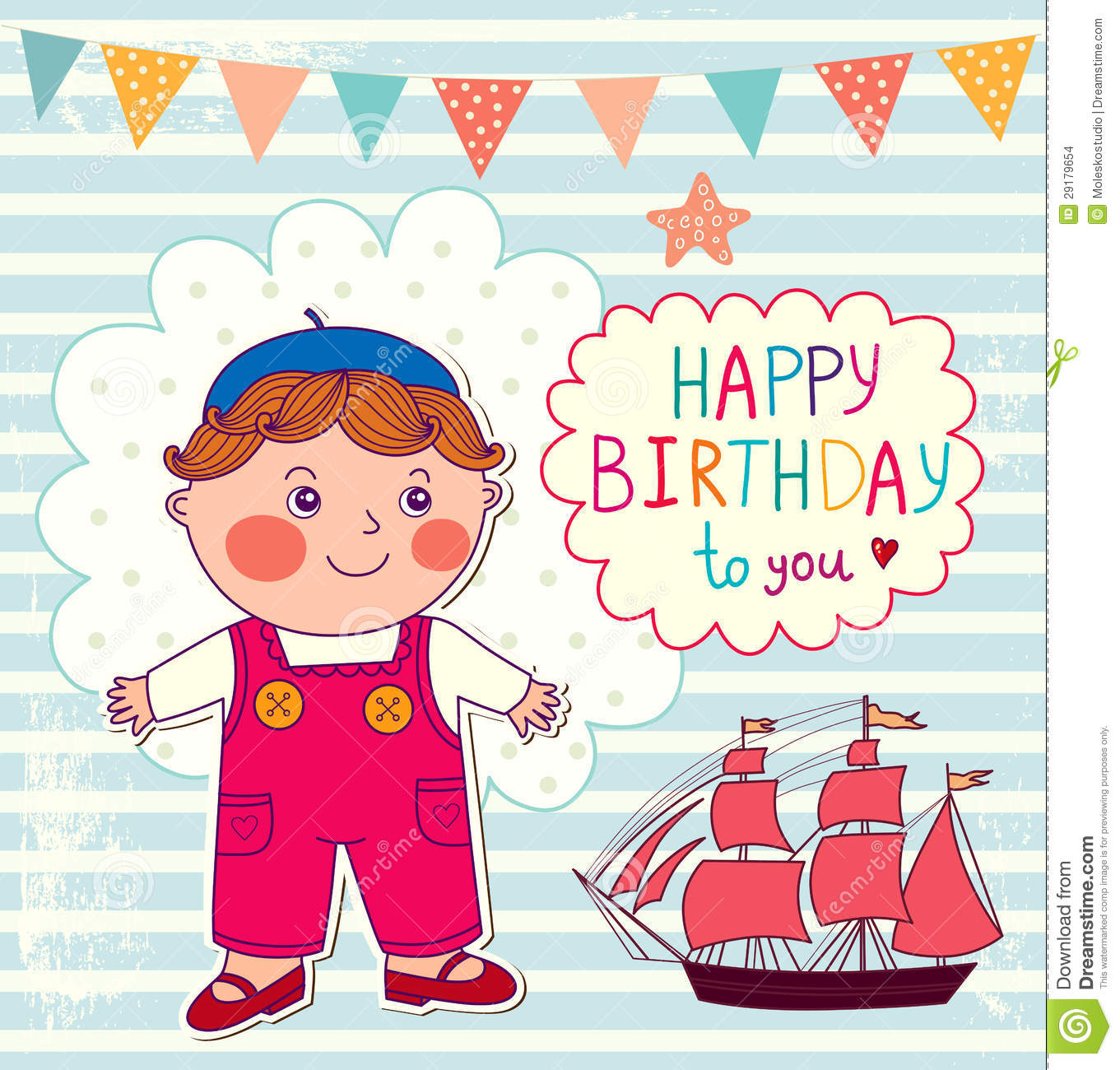 Happy Birthday Cartoon Card Stock Images - Image: 29179654
