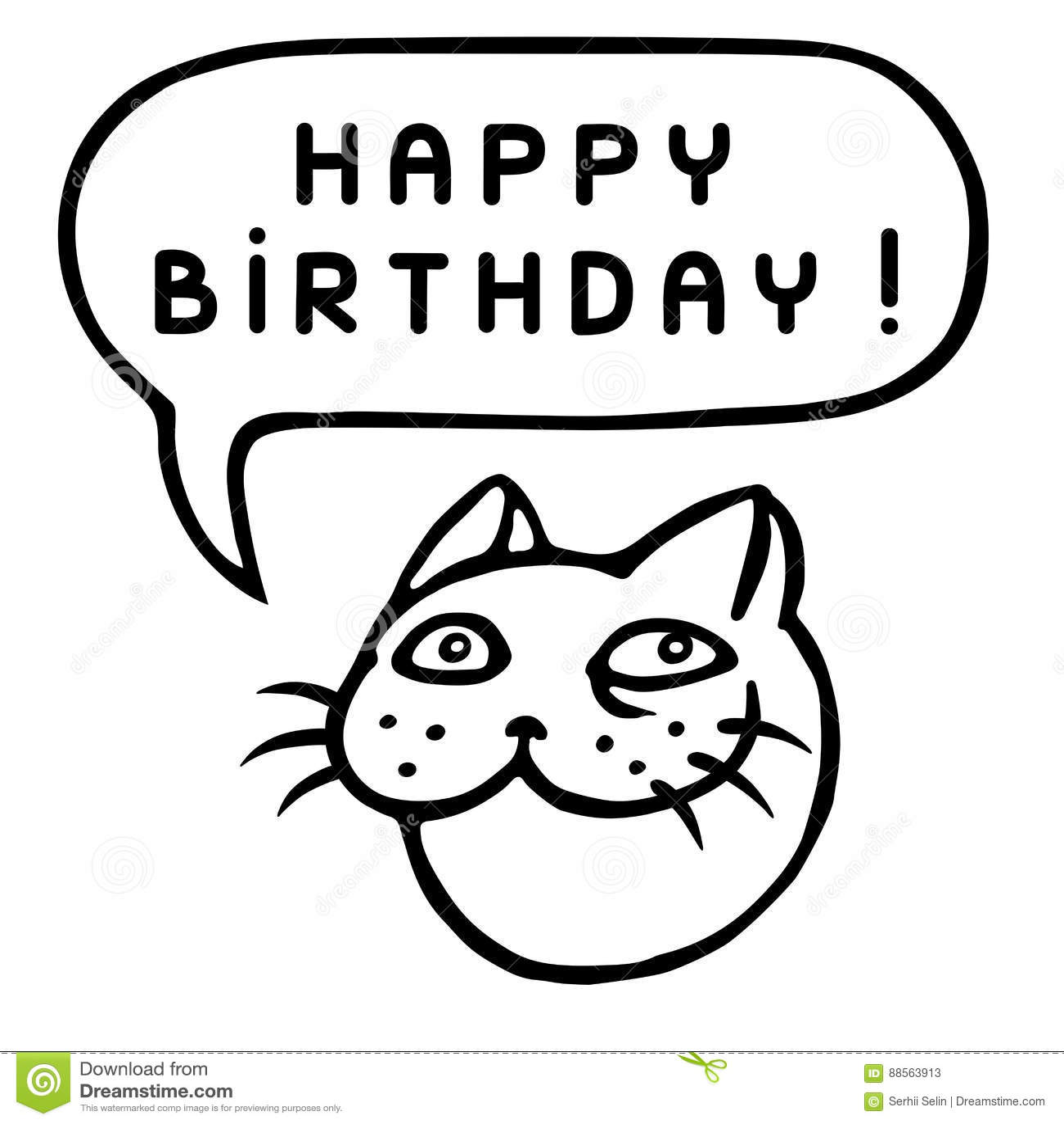 Happy Birthday Cartoon Cat Head Speech Bubble Vector Illustration
