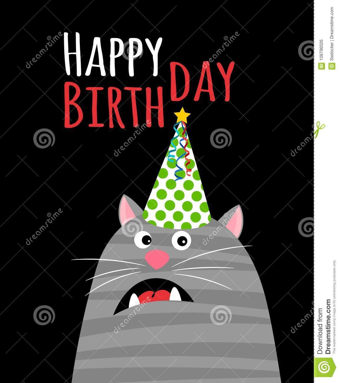 Happy Birthday Cat Card Stock Vector Illustration Of Adorable