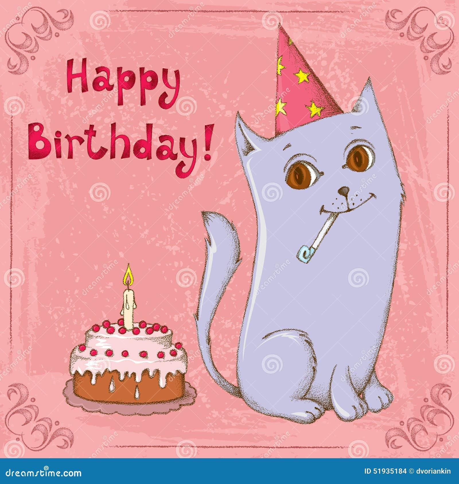 Happy Birthday Cat Stock Vector Illustration Of Background