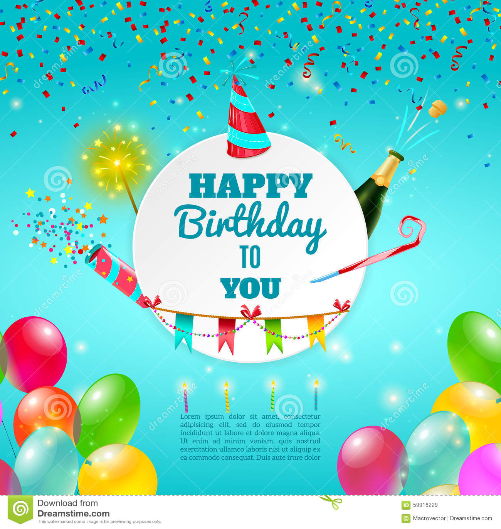 happy birthday celebration background poster stock vector