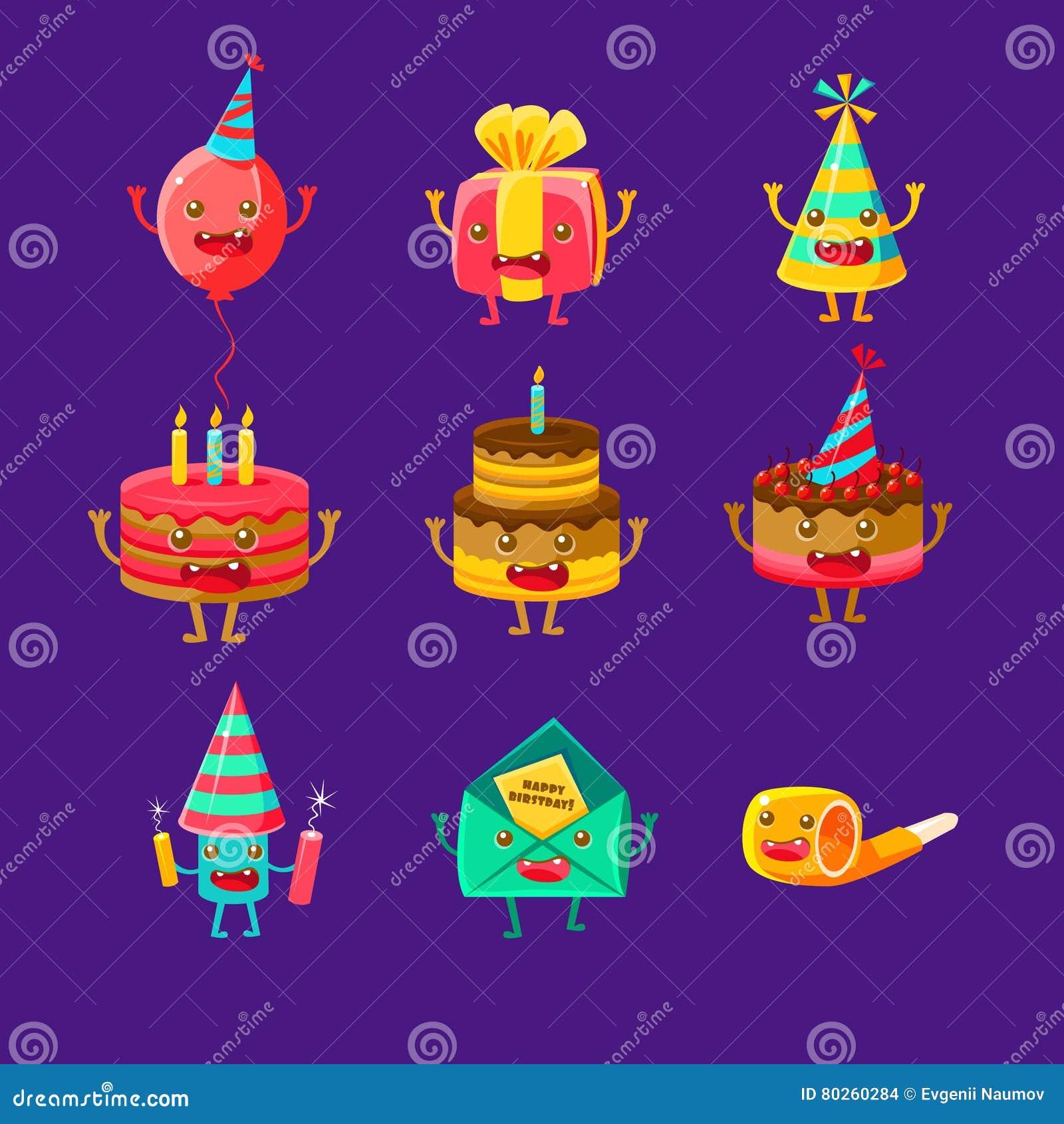 Happy Birthday And Celebration Party Symbols Cartoon
