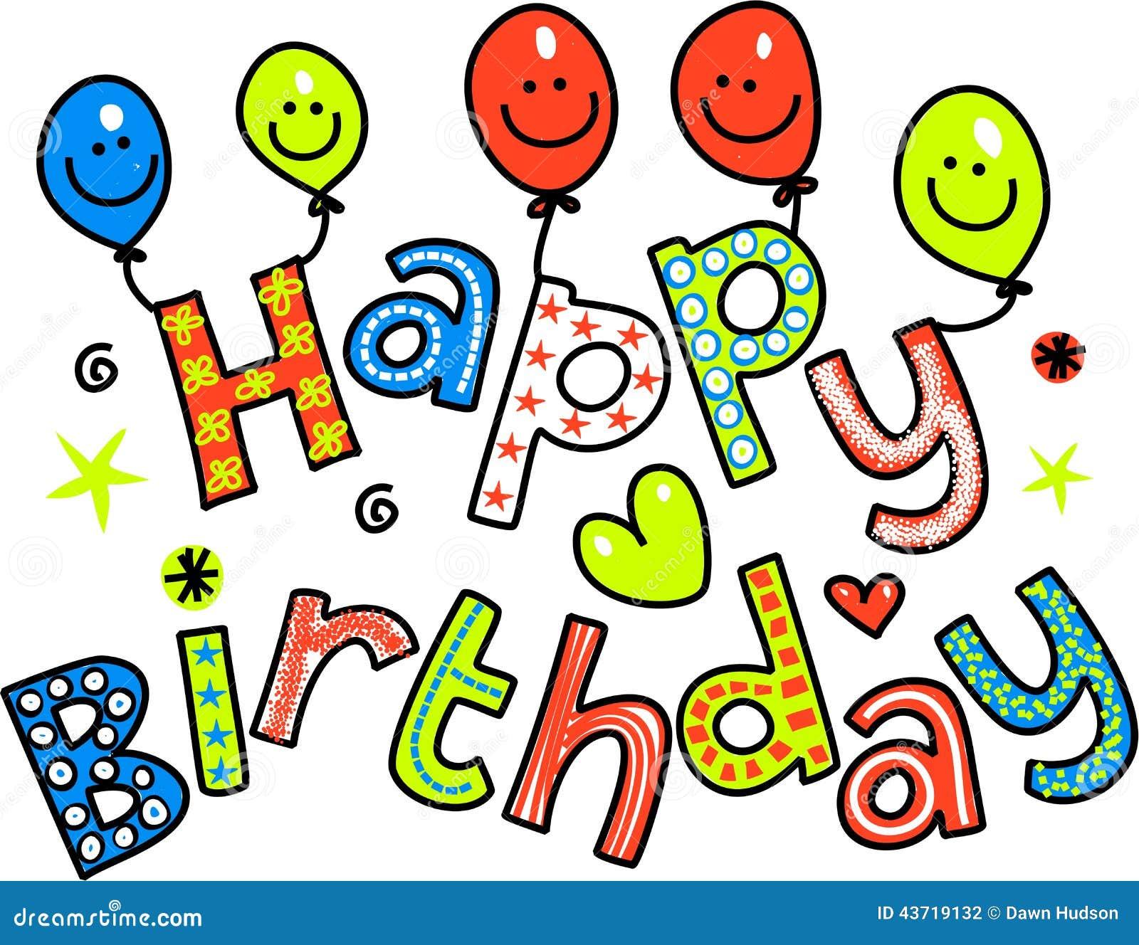 Happy Birthday Celebration Text Stock Illustration Image