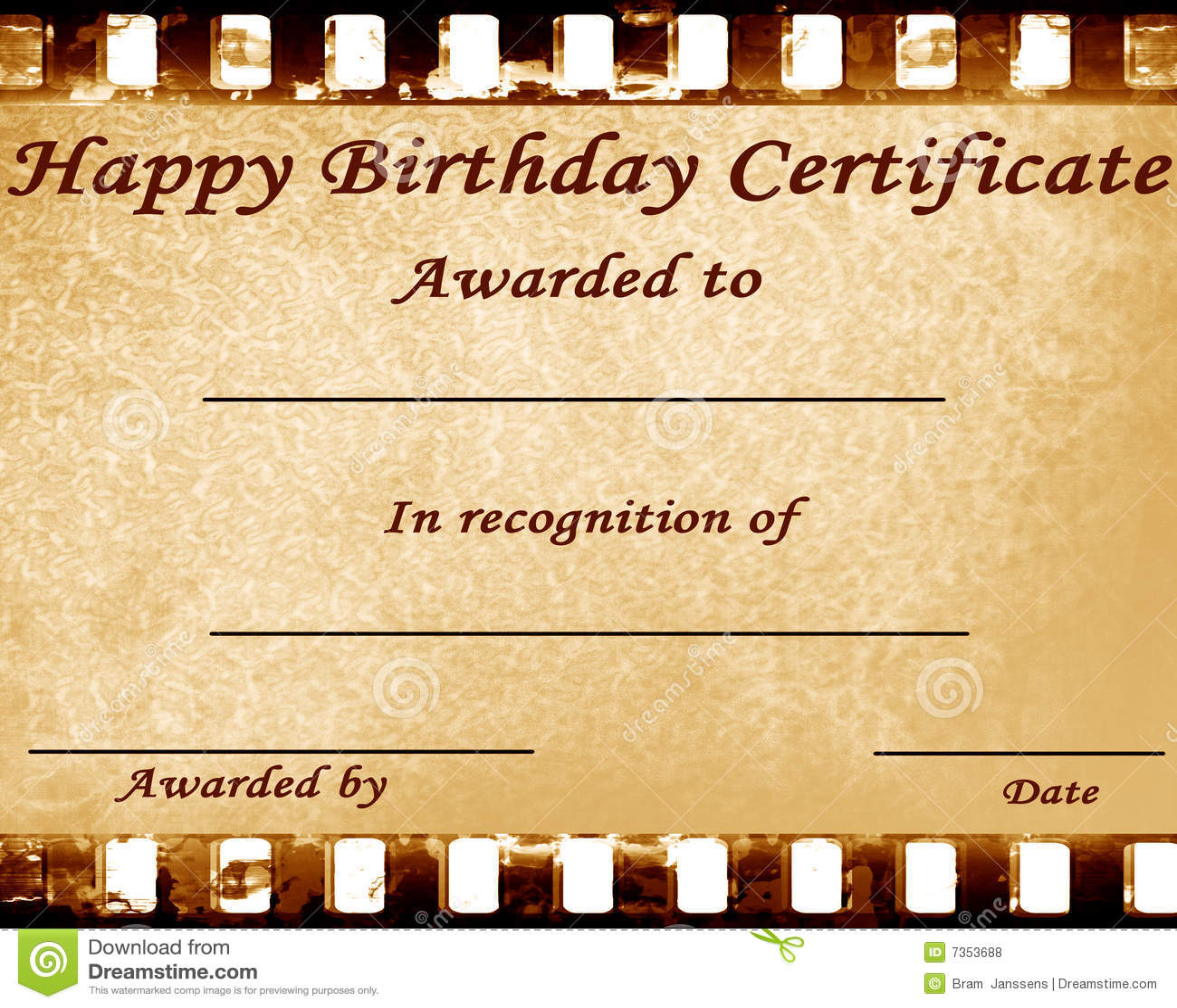 Happy Birthday Certificate Stock Illustration Illustration Of