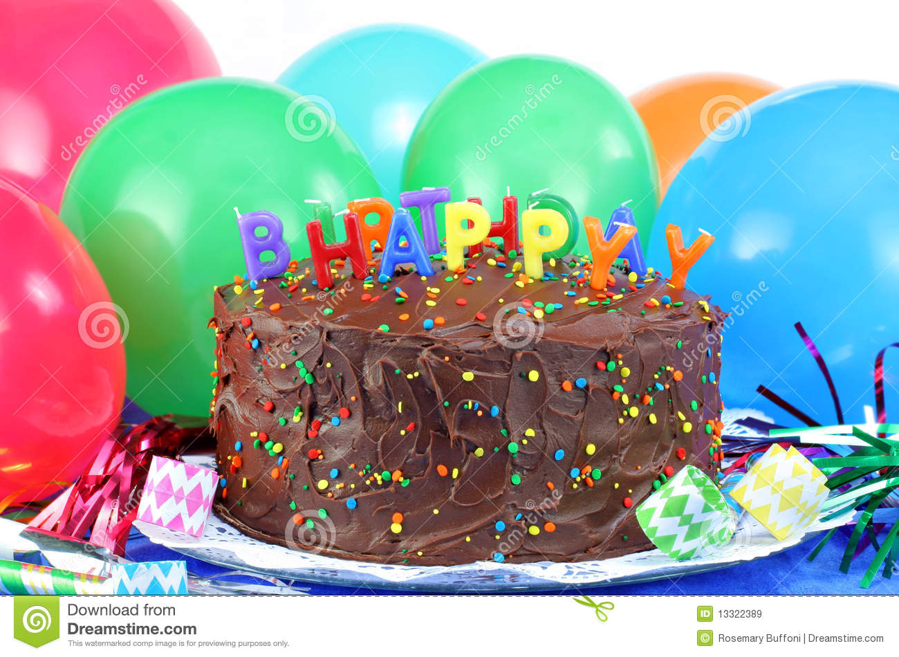 Remarkable Happy Birthday Chocolate Cake And Balloons Stock Image Image Of Personalised Birthday Cards Veneteletsinfo
