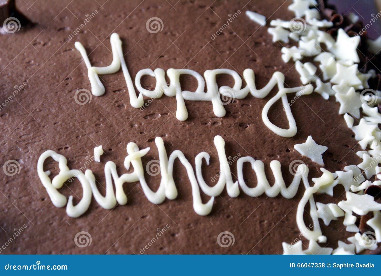 Happy Birthday Chocolate Cake Birthday Cake Stock Photo Image