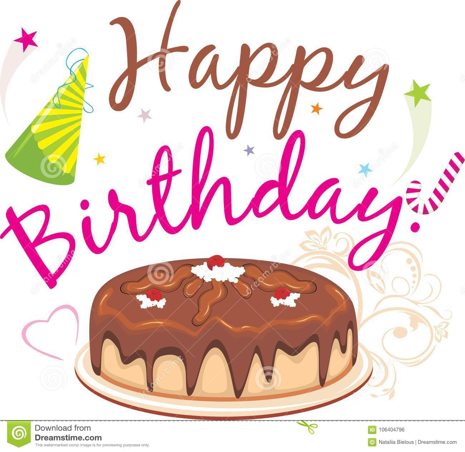 Happy Birthday Chocolate Birthday Cake Stock Vector Illustration