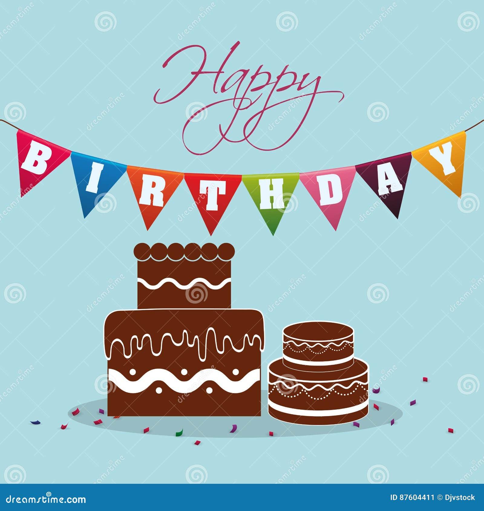 Miraculous Happy Birthday Chocolate Cake Pennant Festive Stock Illustration Birthday Cards Printable Opercafe Filternl