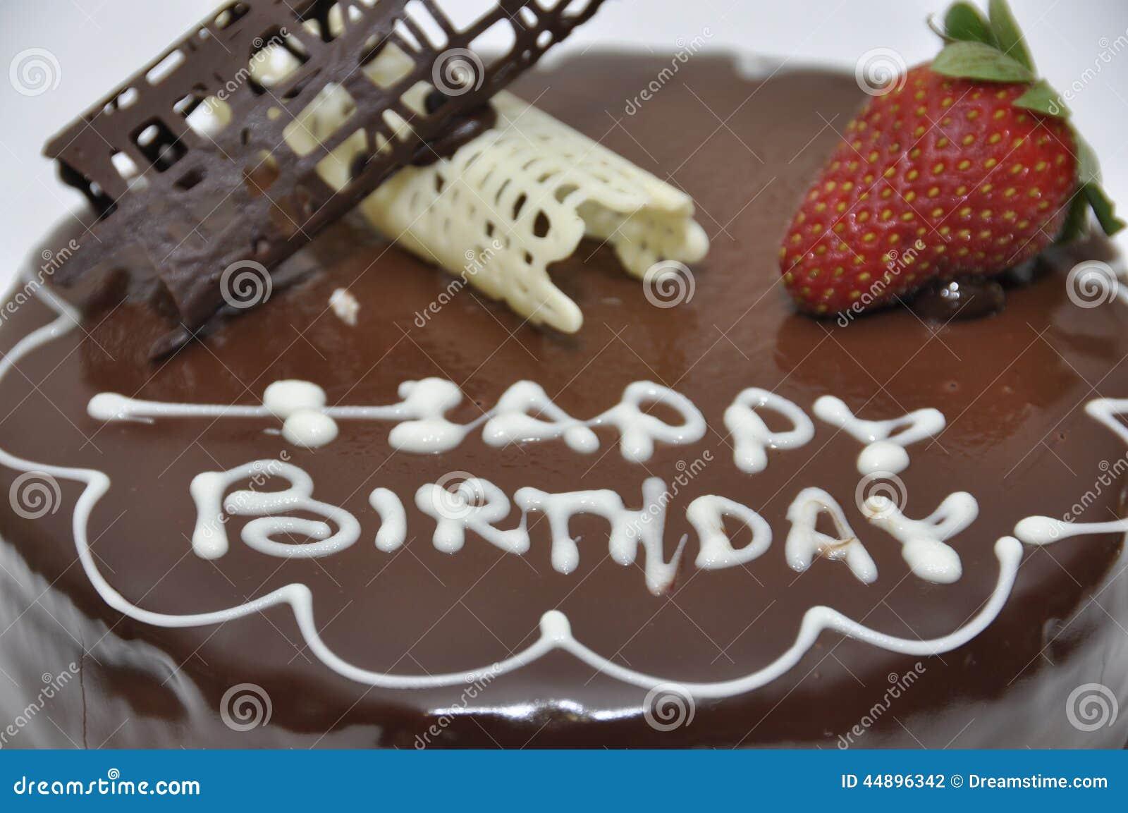 Happy Birthday Chocolate Cake Stock Photo Image 44896342