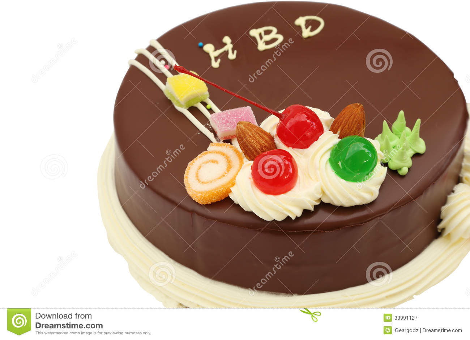 Happy Birthday Chocolate Cake On White Stock Image Image Of