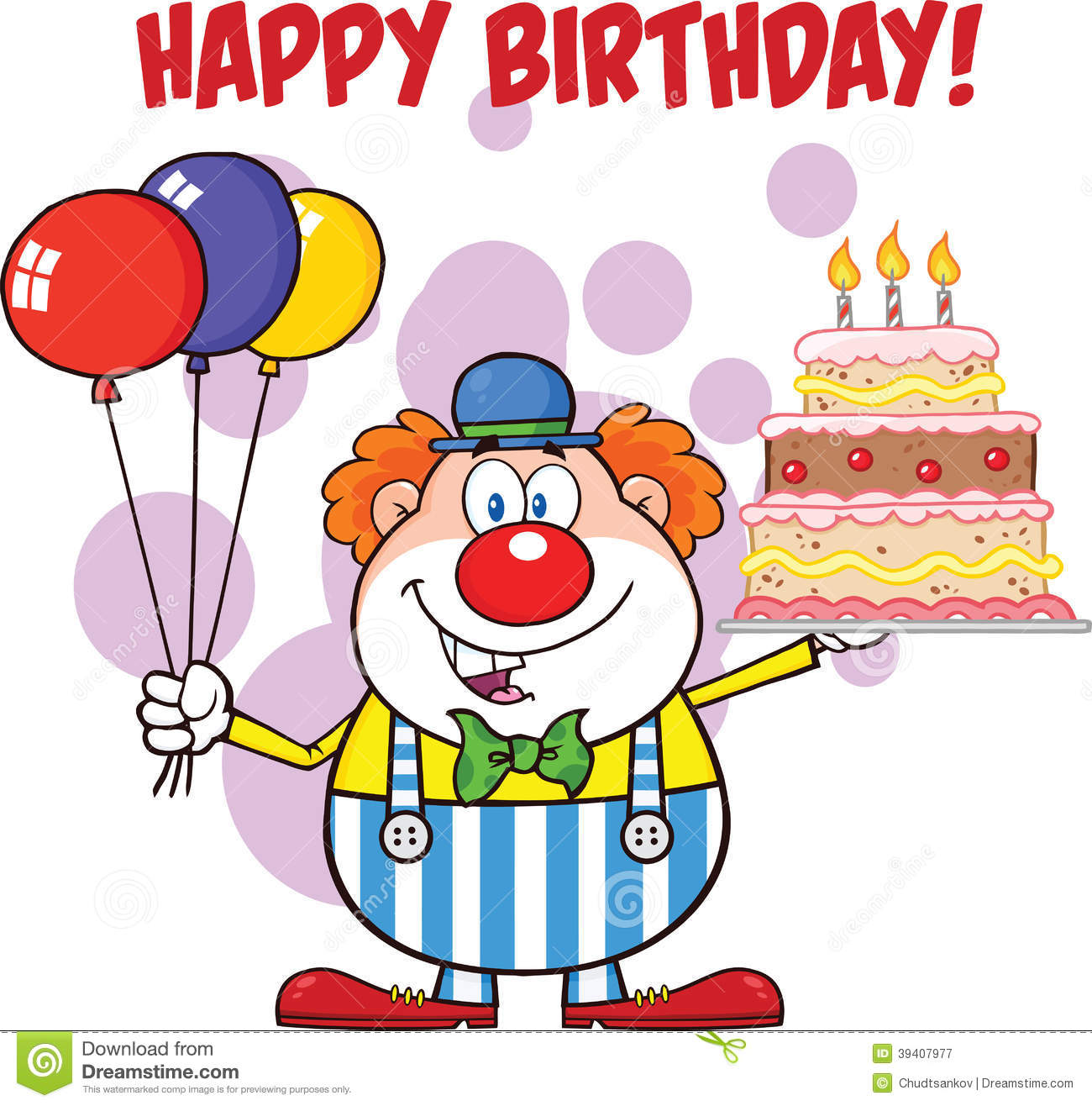 Happy Birthday With Clown Cartoon Character With Balloons