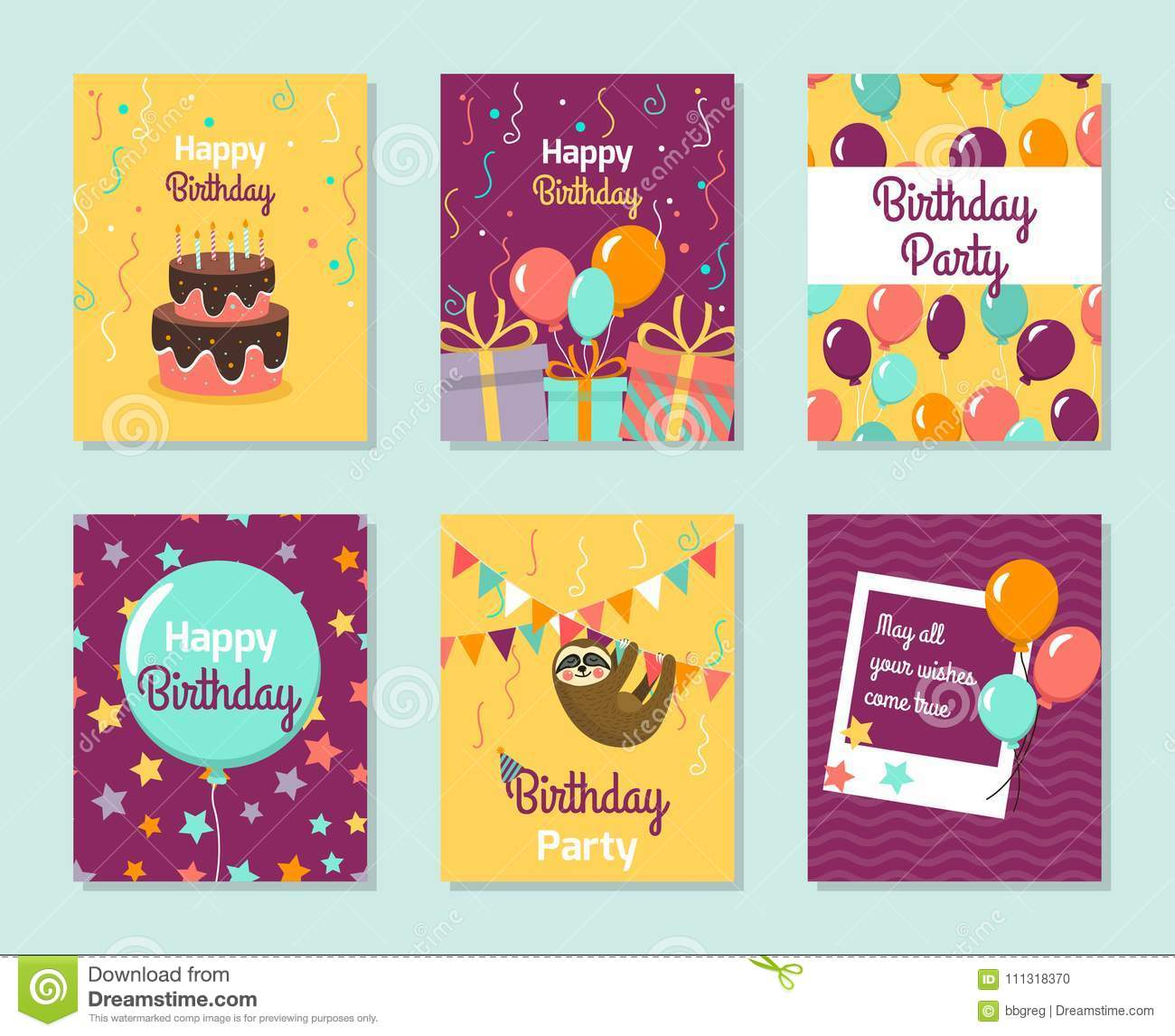 Happy Birthday Collection Greeting Templates Invitation Cards To