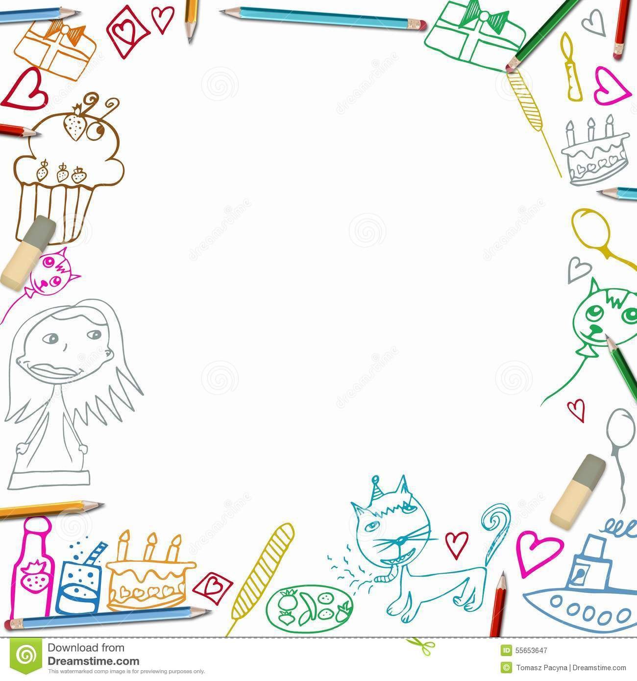 Happy Birthday Colorful Frame Children Drawings On White