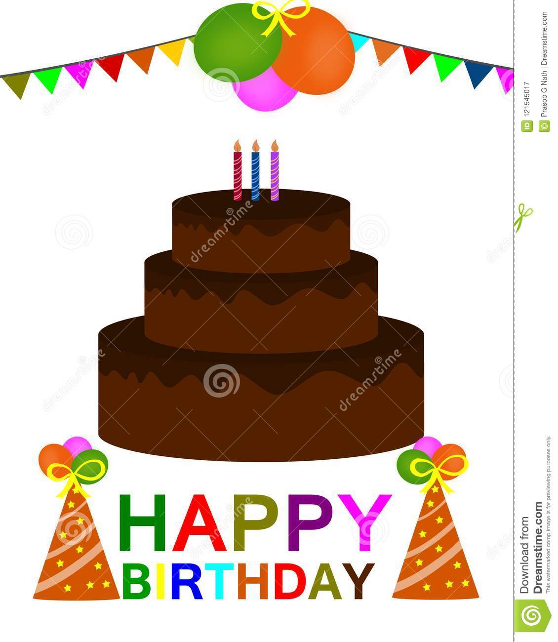 Happy Birthday Colorful Greeting Card Vector Stock Vector