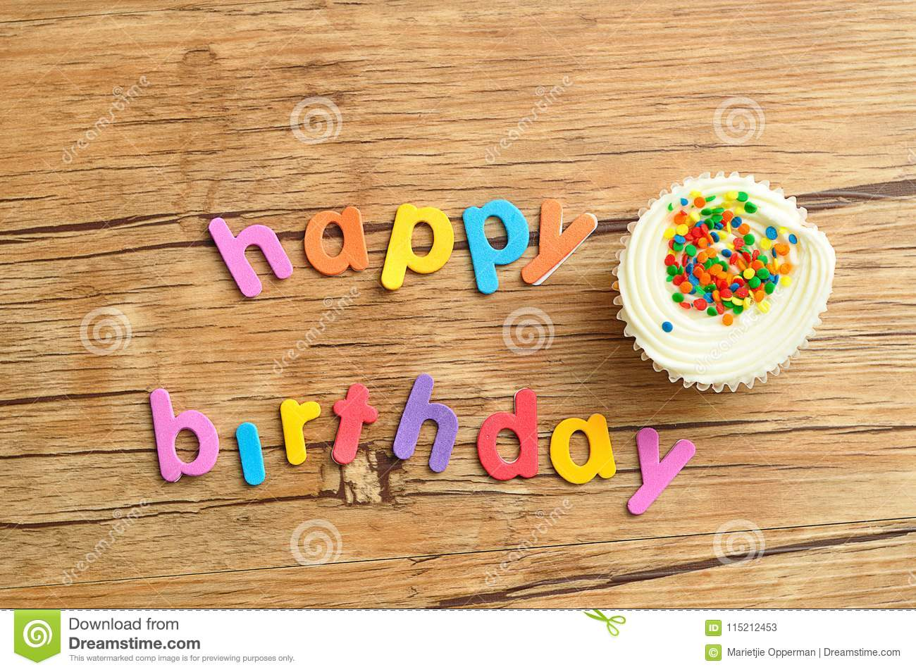 download happy birthday in colorful letters with a white cupcake stock image image of letter