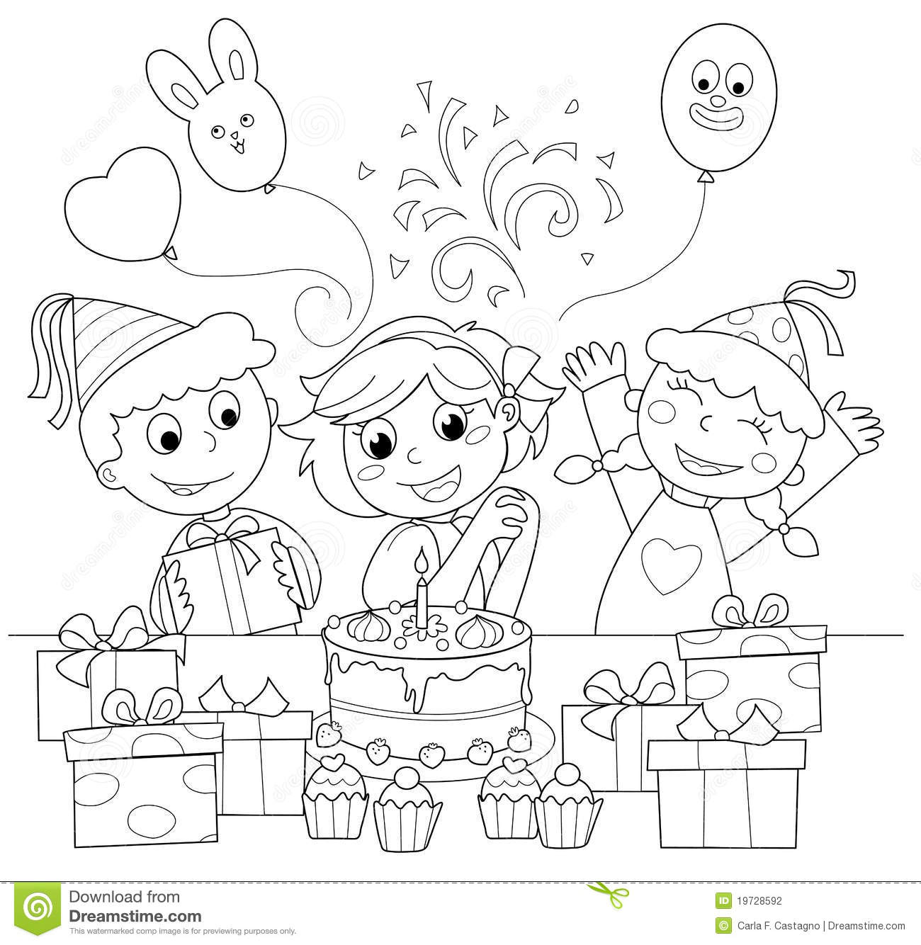 Happy Birthday Coloring Illustration Stock Photography