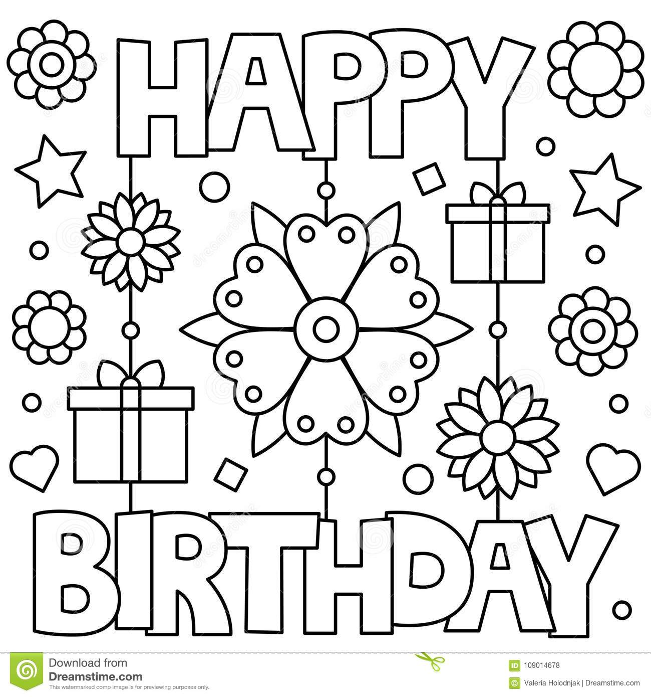 Happy Birthday. Coloring Page. Vector Illustration. Stock ...