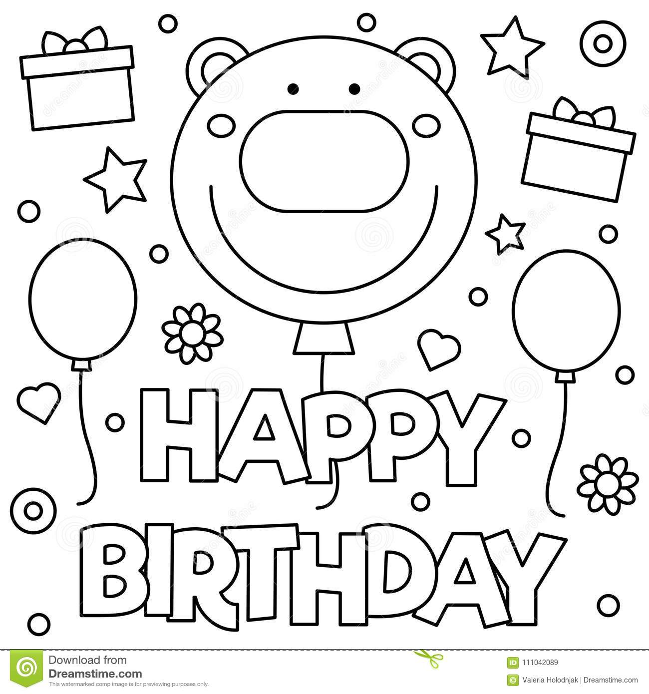 Happy Birthday. Coloring Page. Vector Illustration. Stock