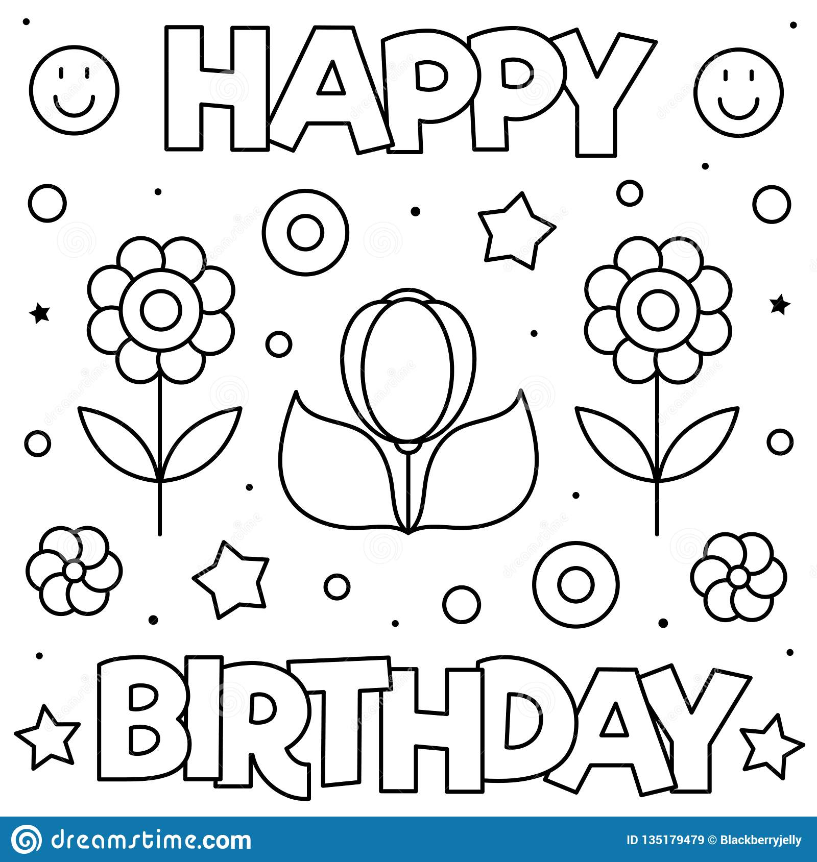 Happy Birthday. Coloring Page. Black And White Vector