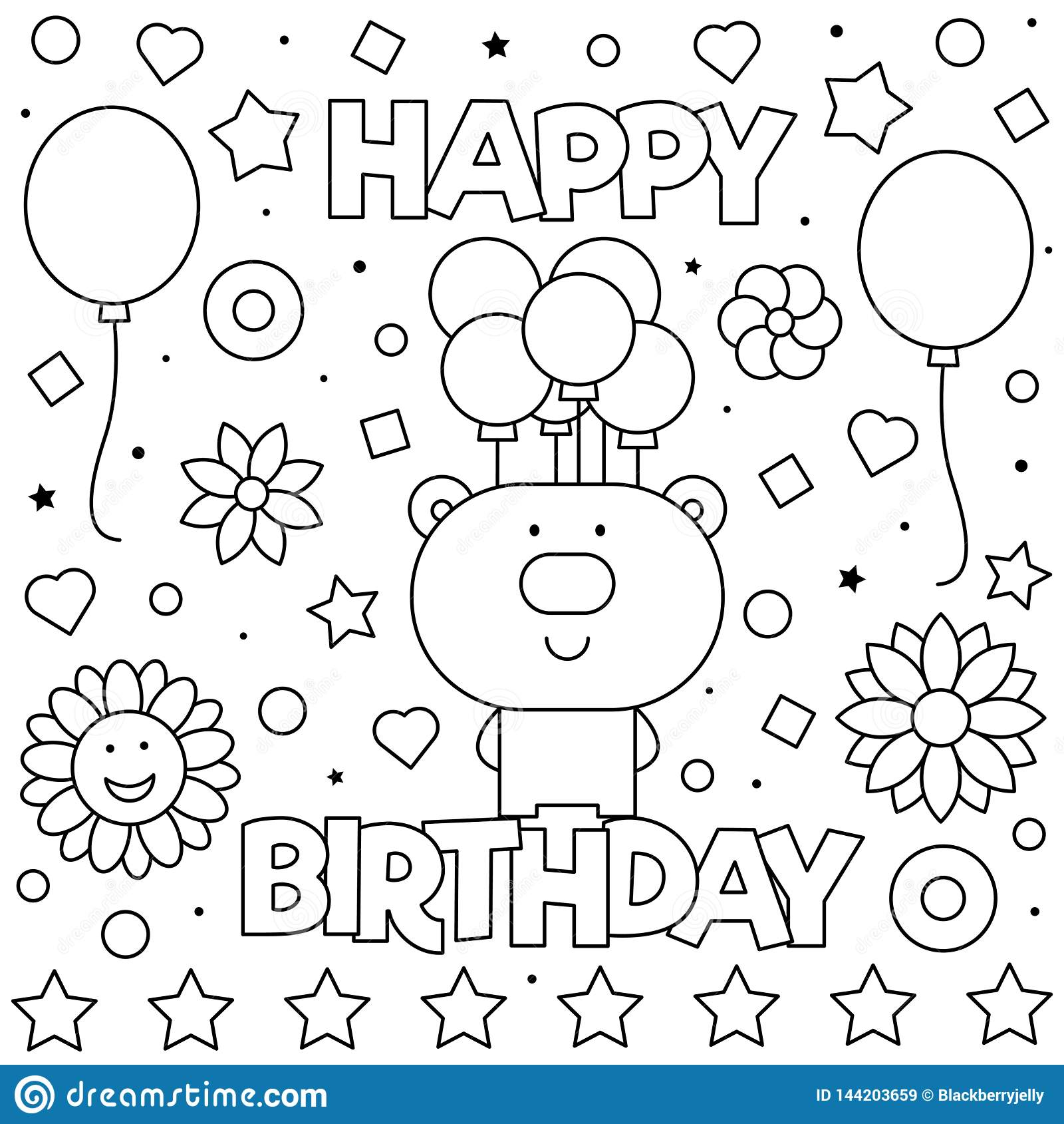 Happy Birthday. Coloring Page. Vector Illustration Of Bear. Stock ...