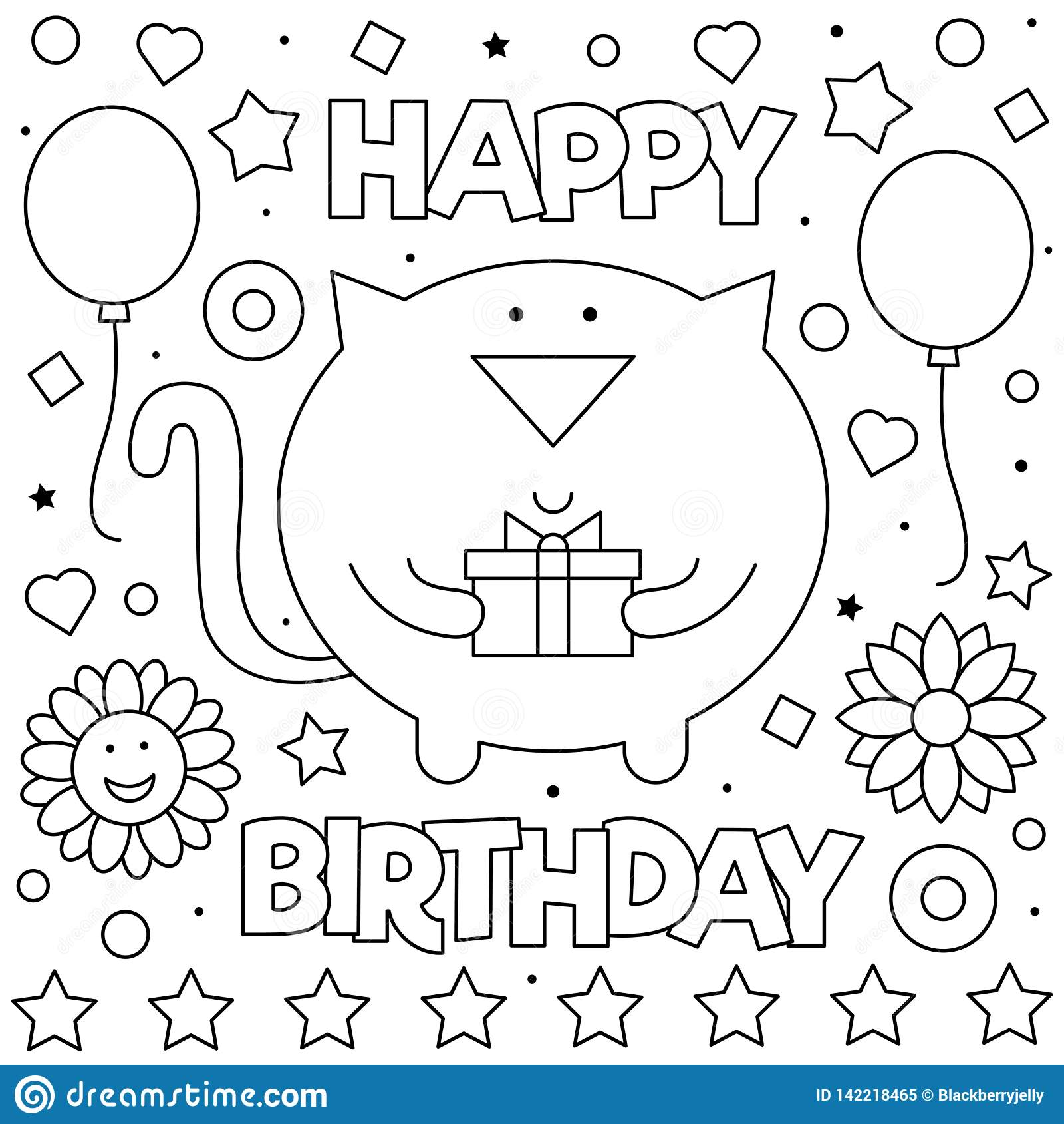 Happy Birthday. Coloring Page. Vector Illustration Of Cat