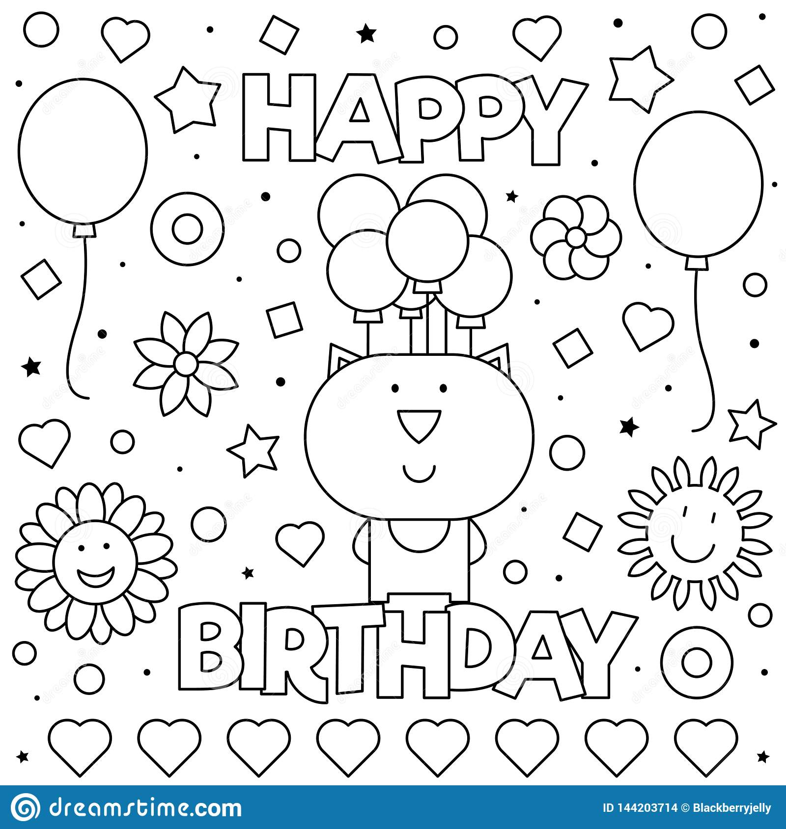 Happy Birthday. Coloring Page. Vector Illustration Of Cat ...